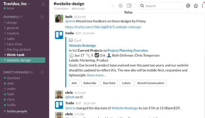 Slack interface