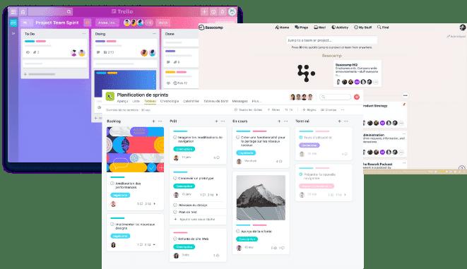 Trello, Asana, Basecamp interface