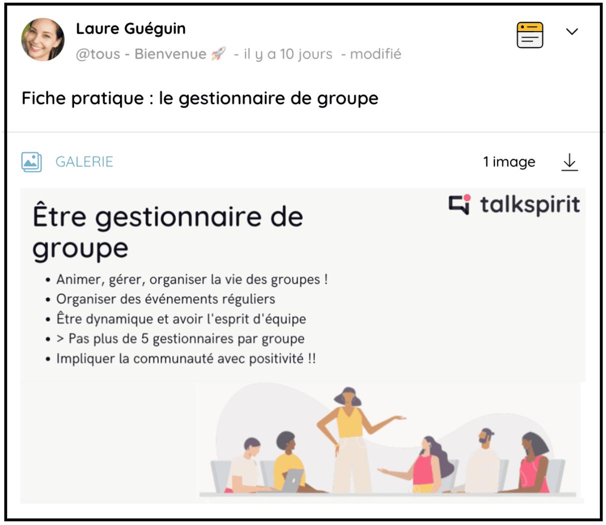 Précisez le rôle du gestionnaire de groupe sur la plateforme