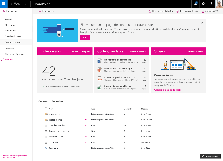 SharePoint interface
