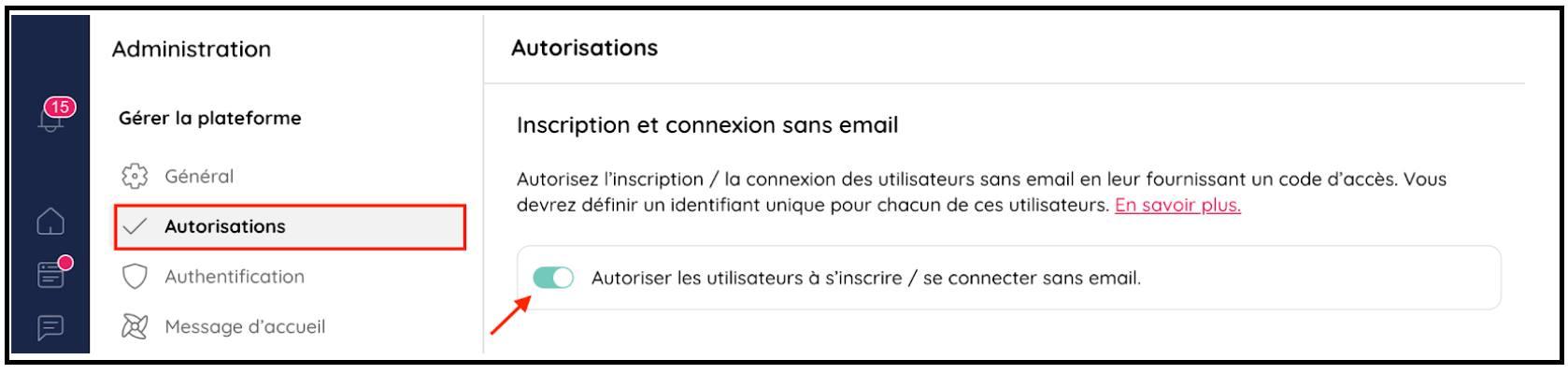 Autoriser les utilisateurs à s'inscrire ou se connecter sans email