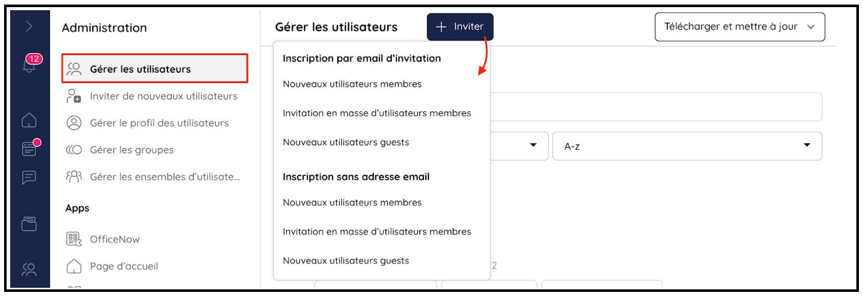 Inviter de nouveaux utilisateurs