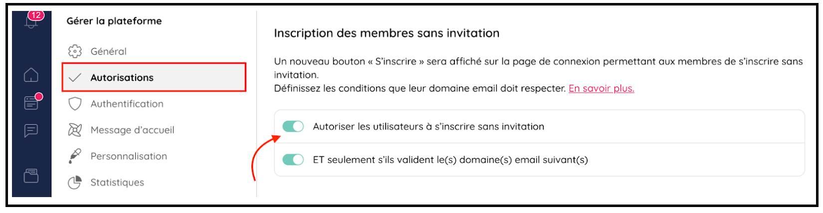 Autoriser les utilisateurs à s'inscrire sans invitation