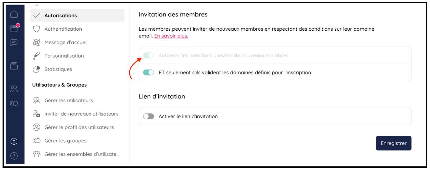 Inviter des membres en restreignant leur inscription à un domaine email
