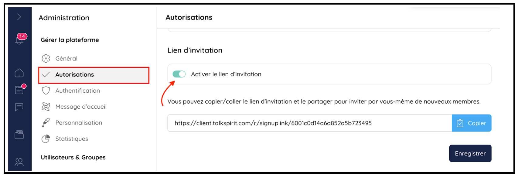 Activer un lien d'invitation