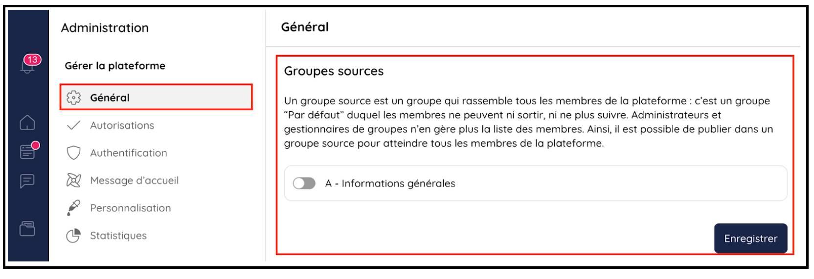 Activer ou désactiver les groupes sources