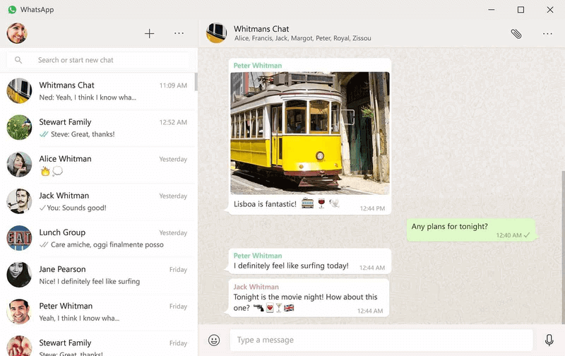 Interface Whatsapp