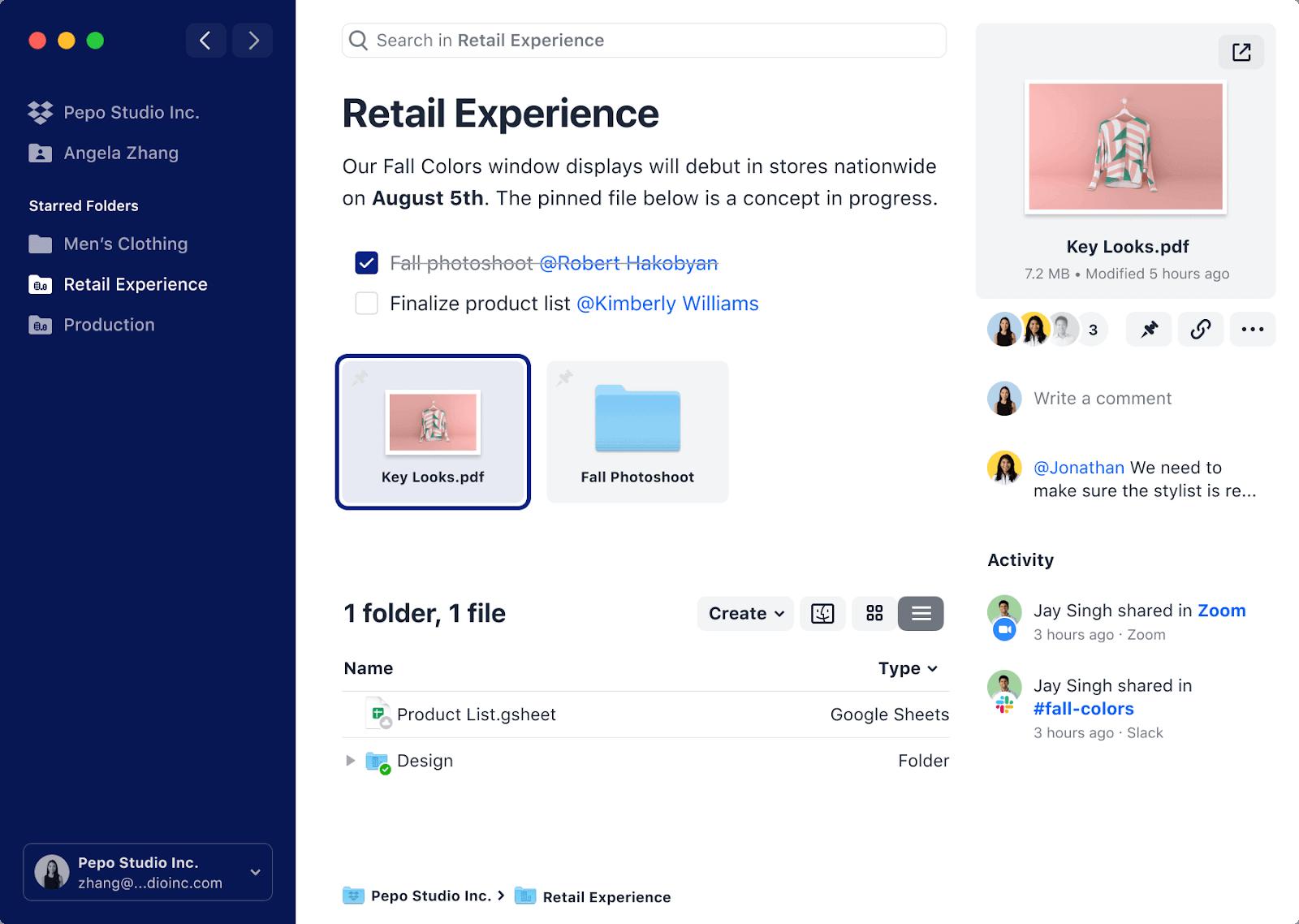 dropbox interface