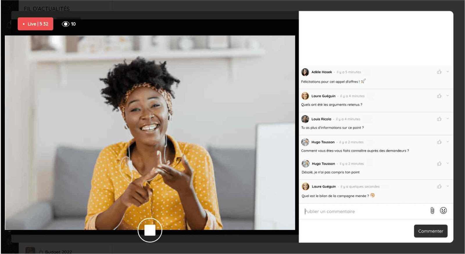 Organisez des webinaires grâce à la fonctionnalité live vidéo