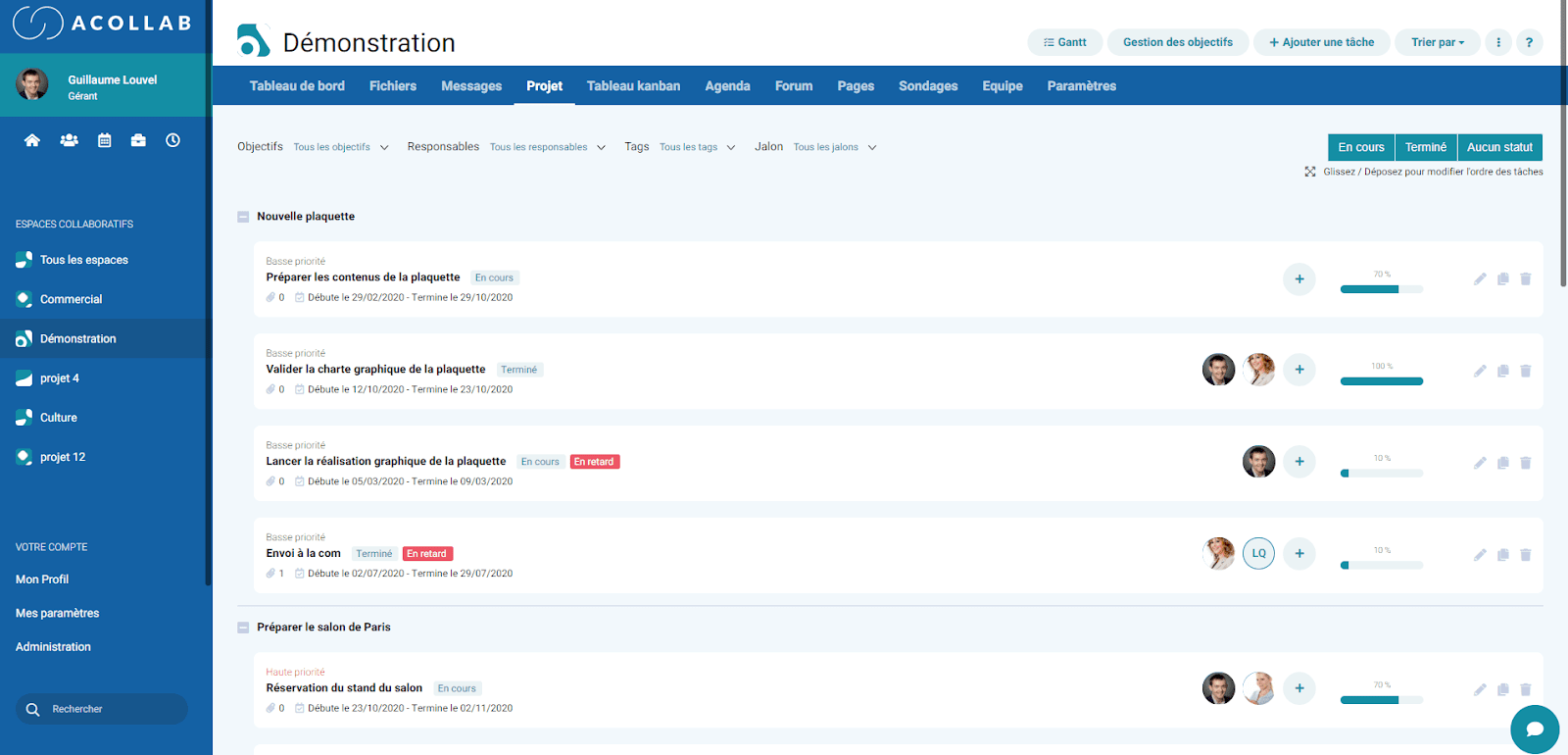 Acollab interface