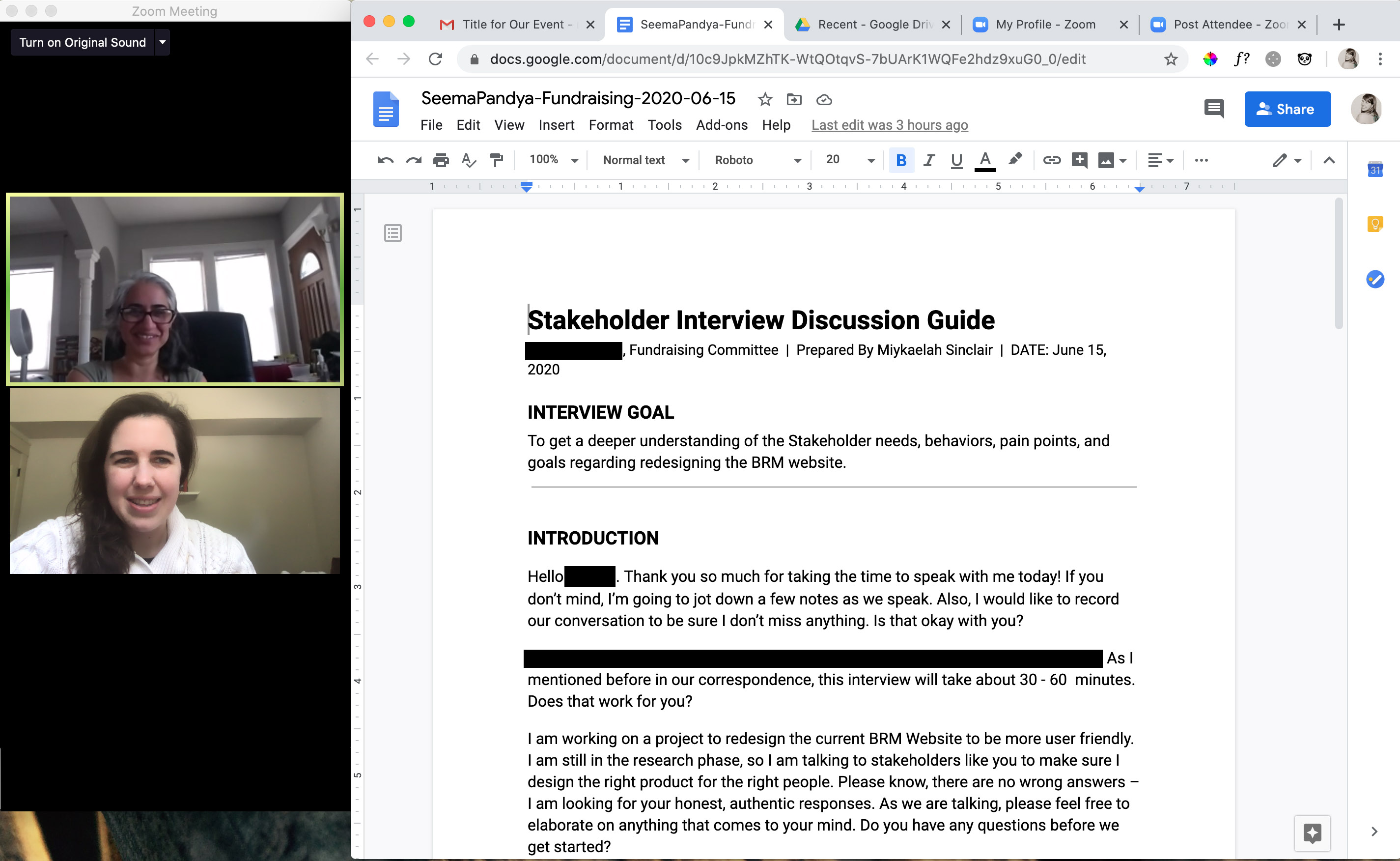 Laptop screen showing the image of  interviewer and interviewee video conferencing  on the left with the interviewer's script on the right