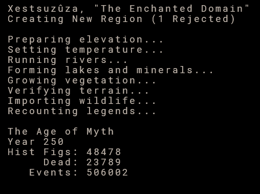 Dwarf Fortress world creation details