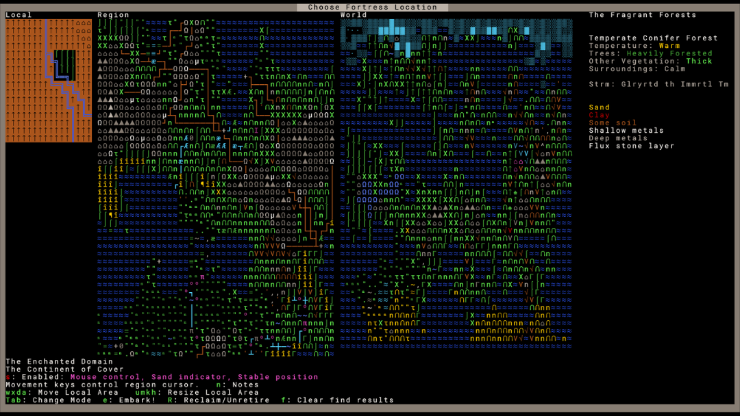 Dwarf Fortress fortress location selection screen