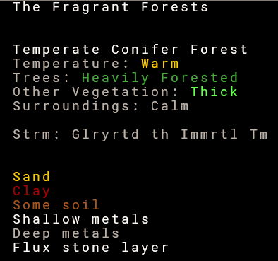 Dwarf Fortress fortress location details.