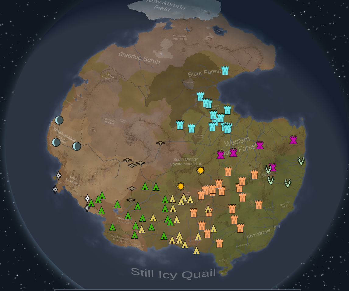 """Rimworld world screen created with seed """"cosme"""""""