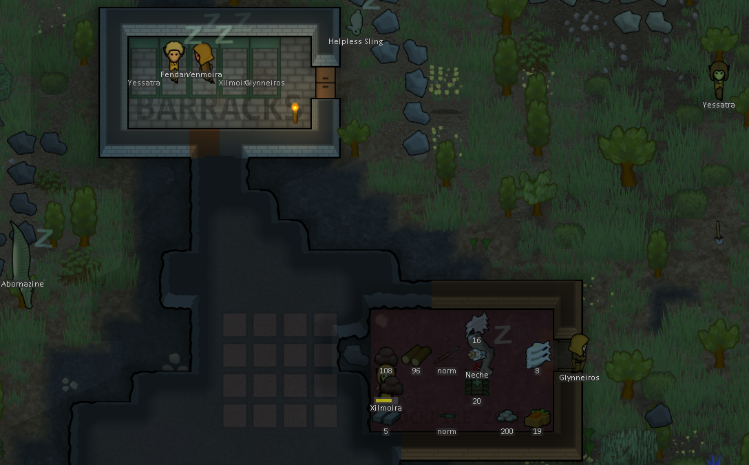 Rimworld in the evening with sleeping characters