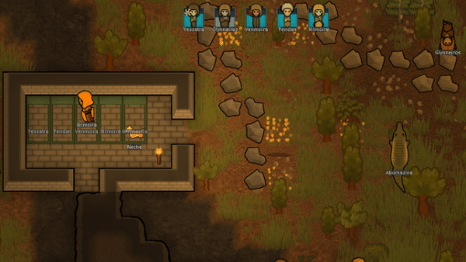 Rimworld screen with sleeping colonists and alligator