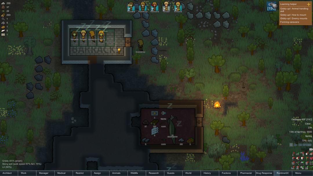 Rmworld evening with colonists sleeping