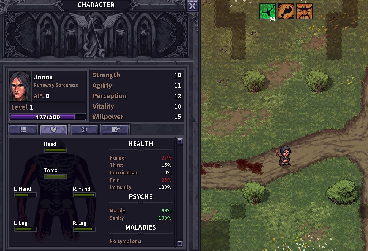 Stoneshard Character screen showing poor health after ambush