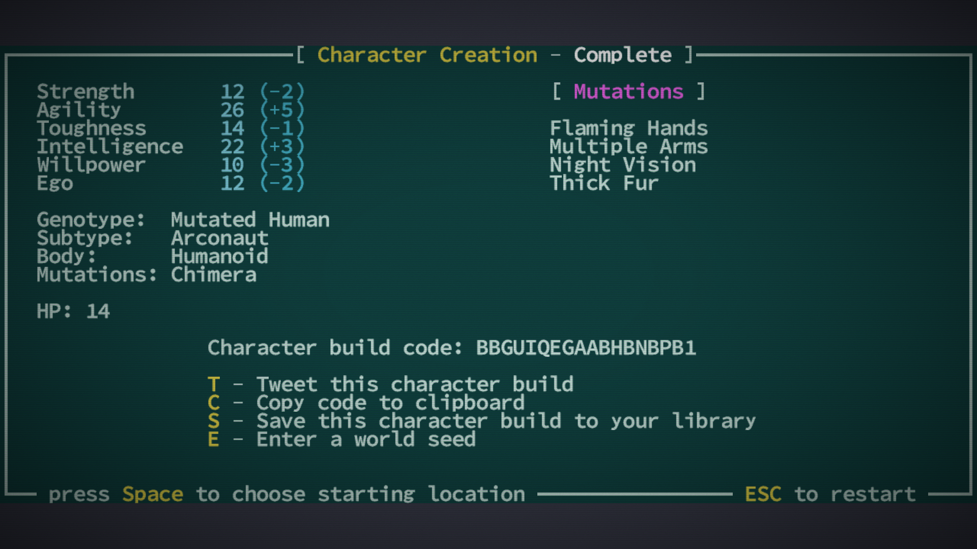 Caves of Qud Character Creation screen