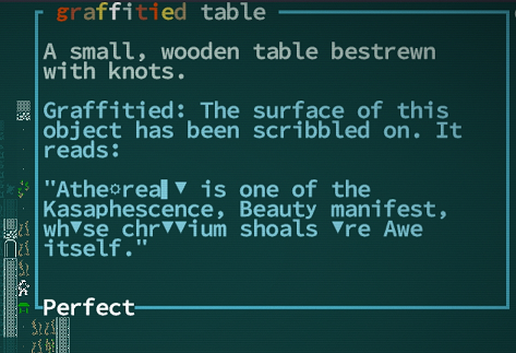 Caves of Qud description of a graffiti table