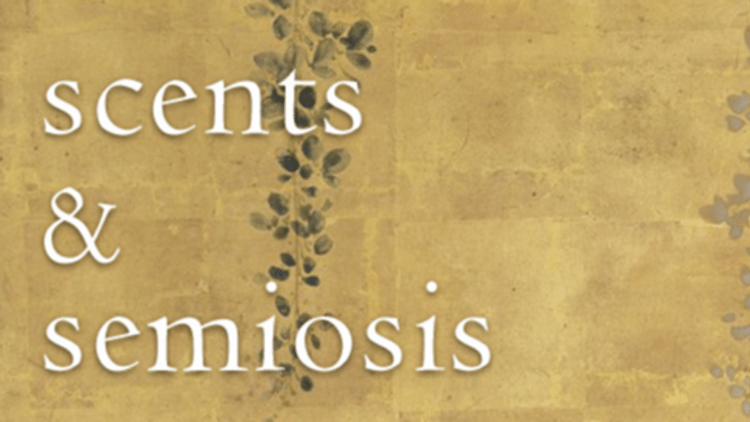 "The words ""Scents and Semiosis"" on a stone and ivy wall"