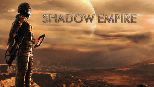 """Futuristic looking fighter overlooking desert canyon with the words """"Shadow Empire"""""""