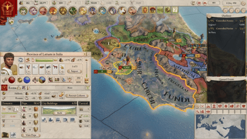 A screenshot of Imperator Rome showing the province of Latium in Italia
