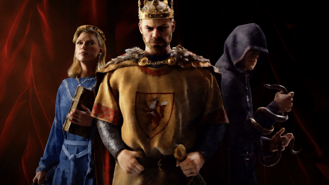 Crusader Kings 3 promotion image with king, thief, and diplomat