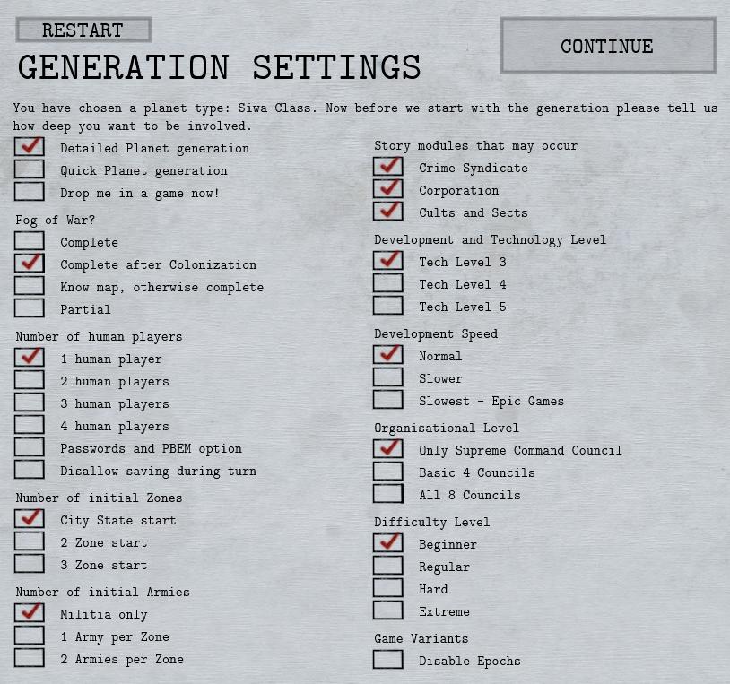 Shadow Empire Generation Settings