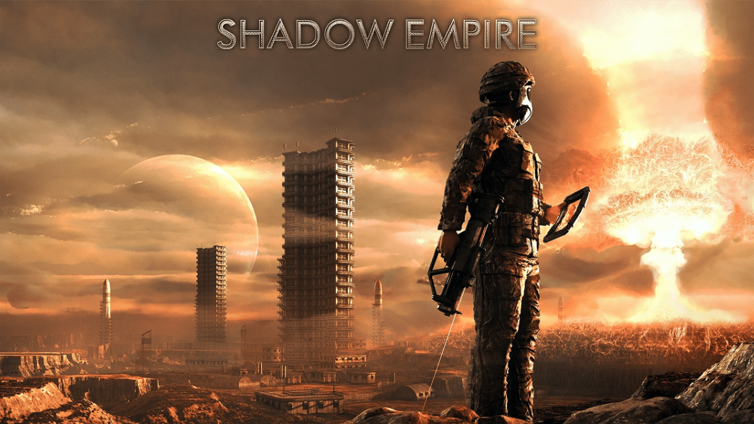 """Post-apocalyptic scene with futuristic soldier and the words, """"Shadow Empire"""""""