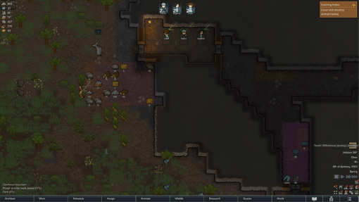 Rimworld screenshot depicting the burgeoning colony of Hiswick
