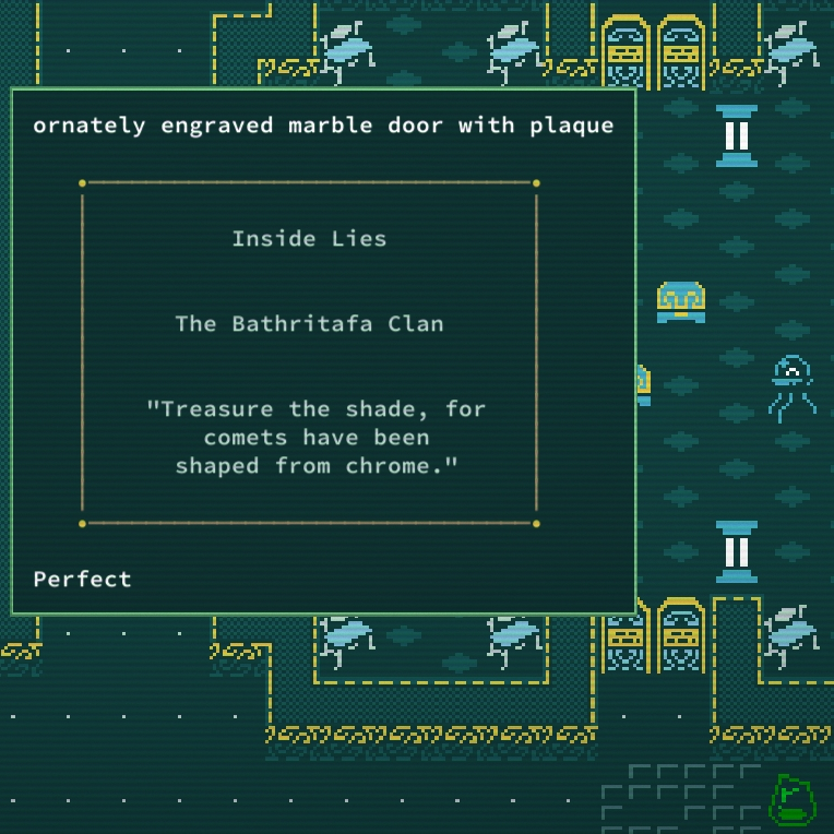 Caves of Qud The Tomb of Eaters marble door text