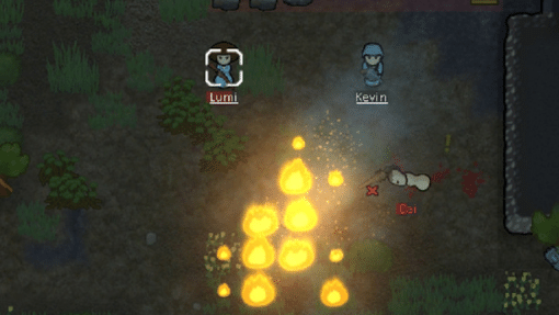 Rimworld screenshot of two colonists and fire