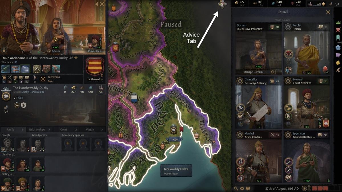 Crusader Kings 3 Council Window