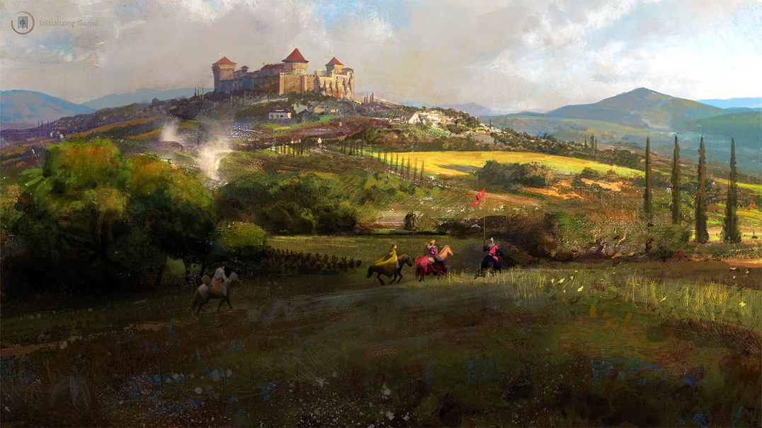 Crusader Kings 3 Loading Screen - Castle, Countryside, and Horsemen