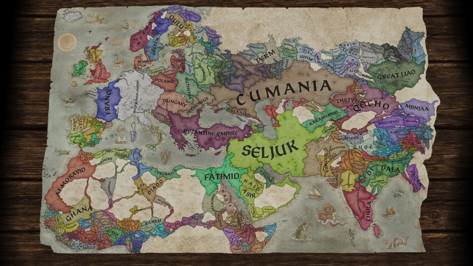 Crusader Kings 3 Paper Map of Medieval Africa, Asia, and Europe