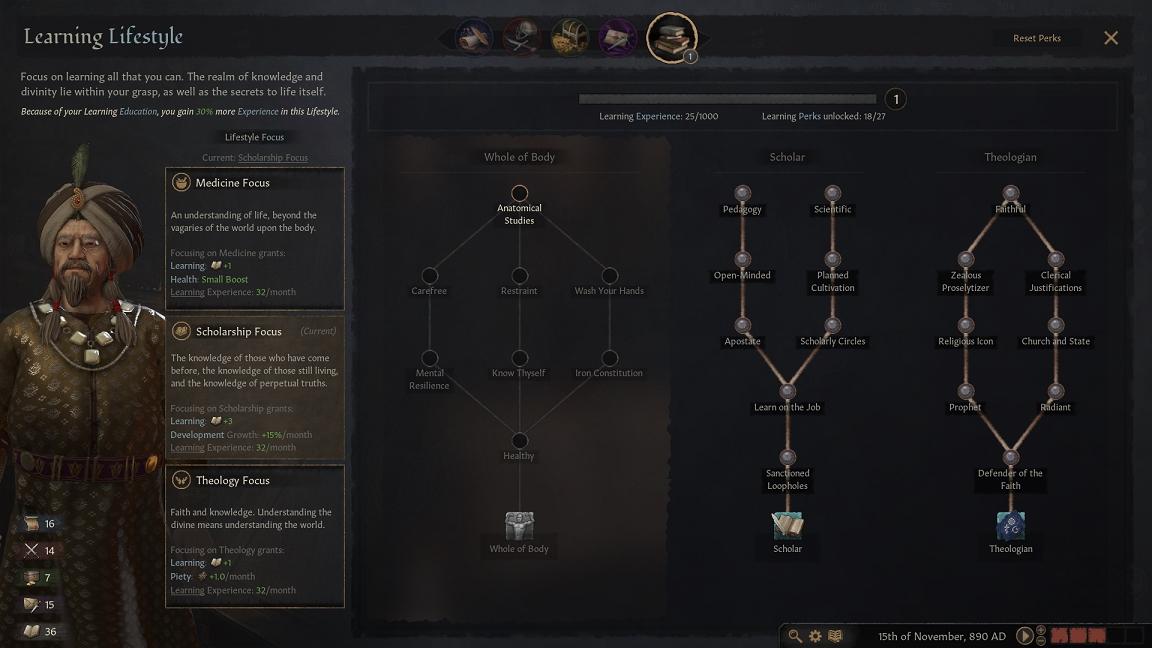 Crusader Kings 3 Learning Lifestyle Perk Trees