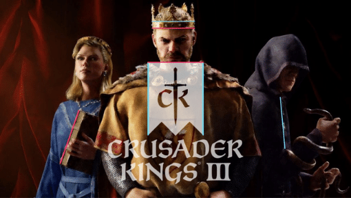 Crusader Kings 3 promotional art with king, queen, and thief