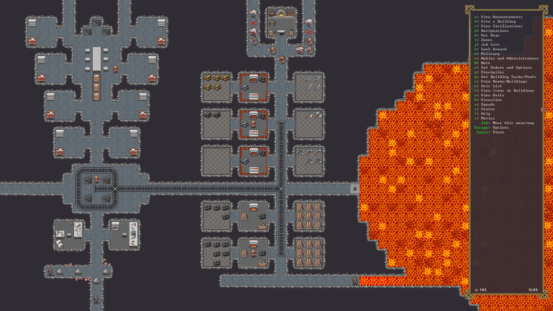 Early screenshot of Steam version of Dwarf Fortress