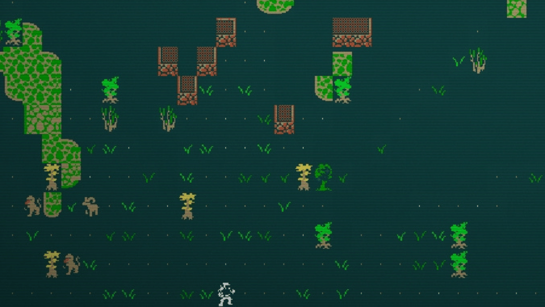 Nearing the creatures of Red Rocks in Caves of Qud