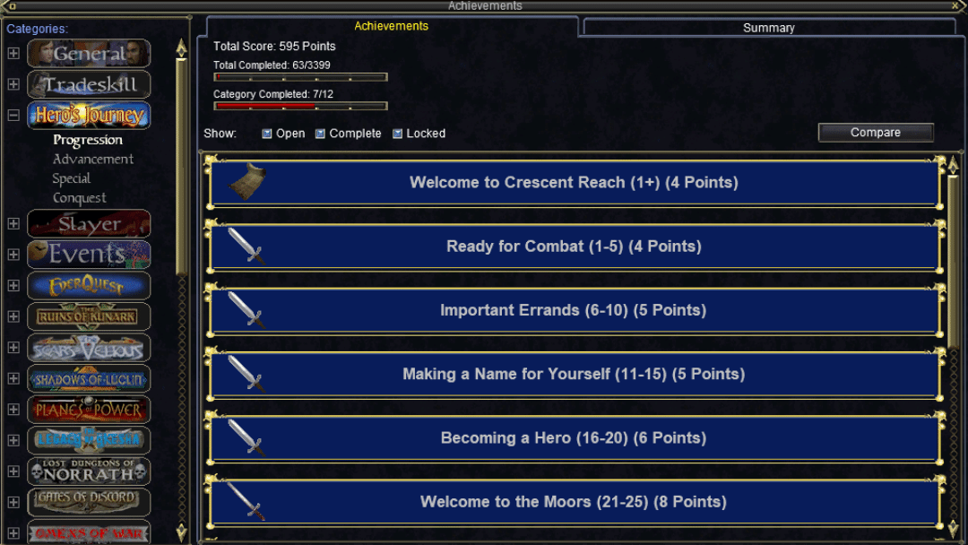 Everquest Achievements window