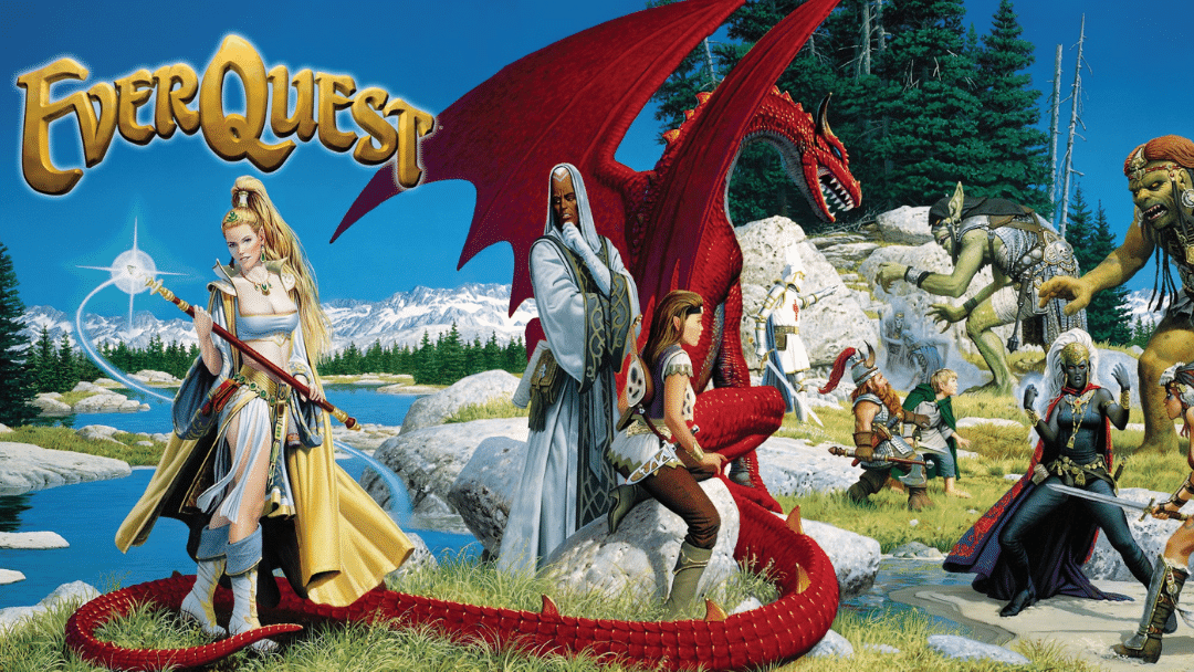 Everquest Classic image with Everquest logo, Firiona Vie and red dragon