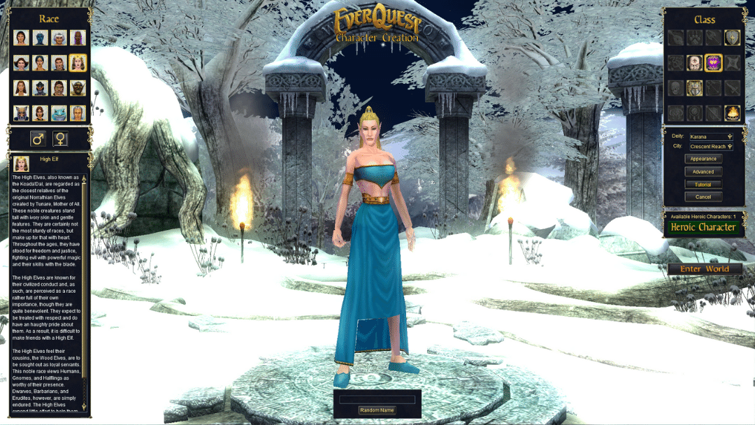 Everquest Character Creation Screen