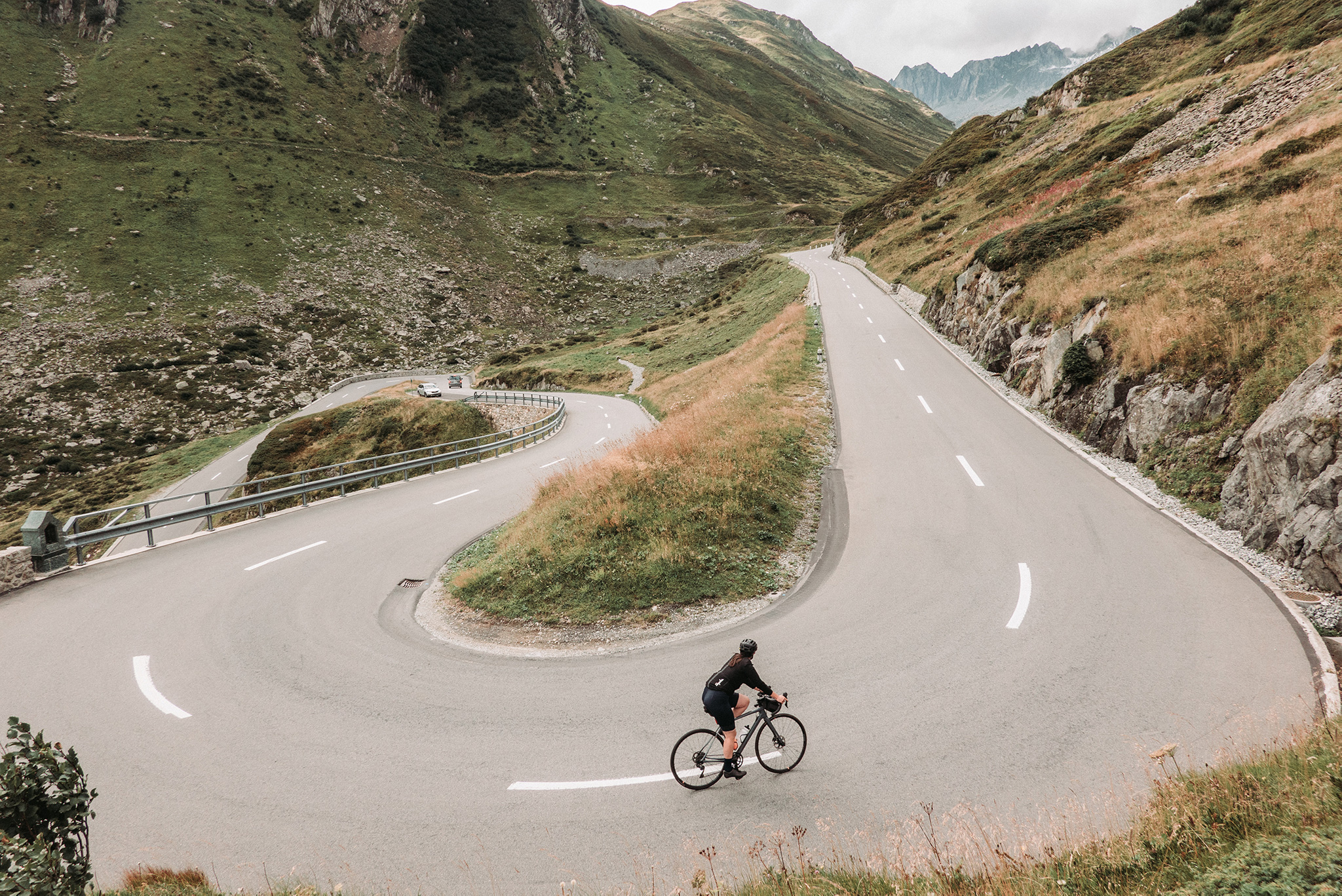 Switch back climbs on the road bike