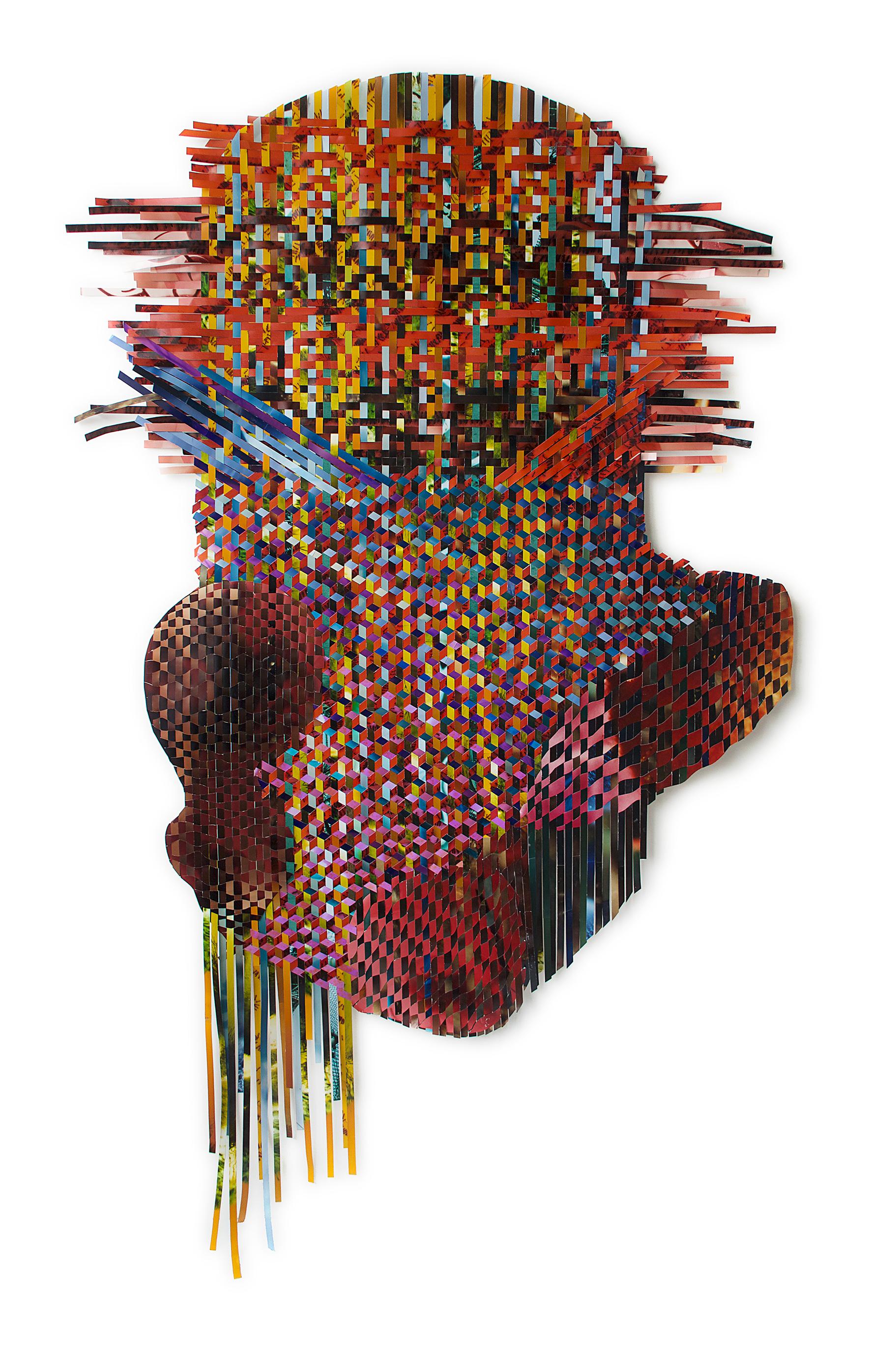 Tomas Nakada's work entitled Oyejo, made of cut, woven photographs
