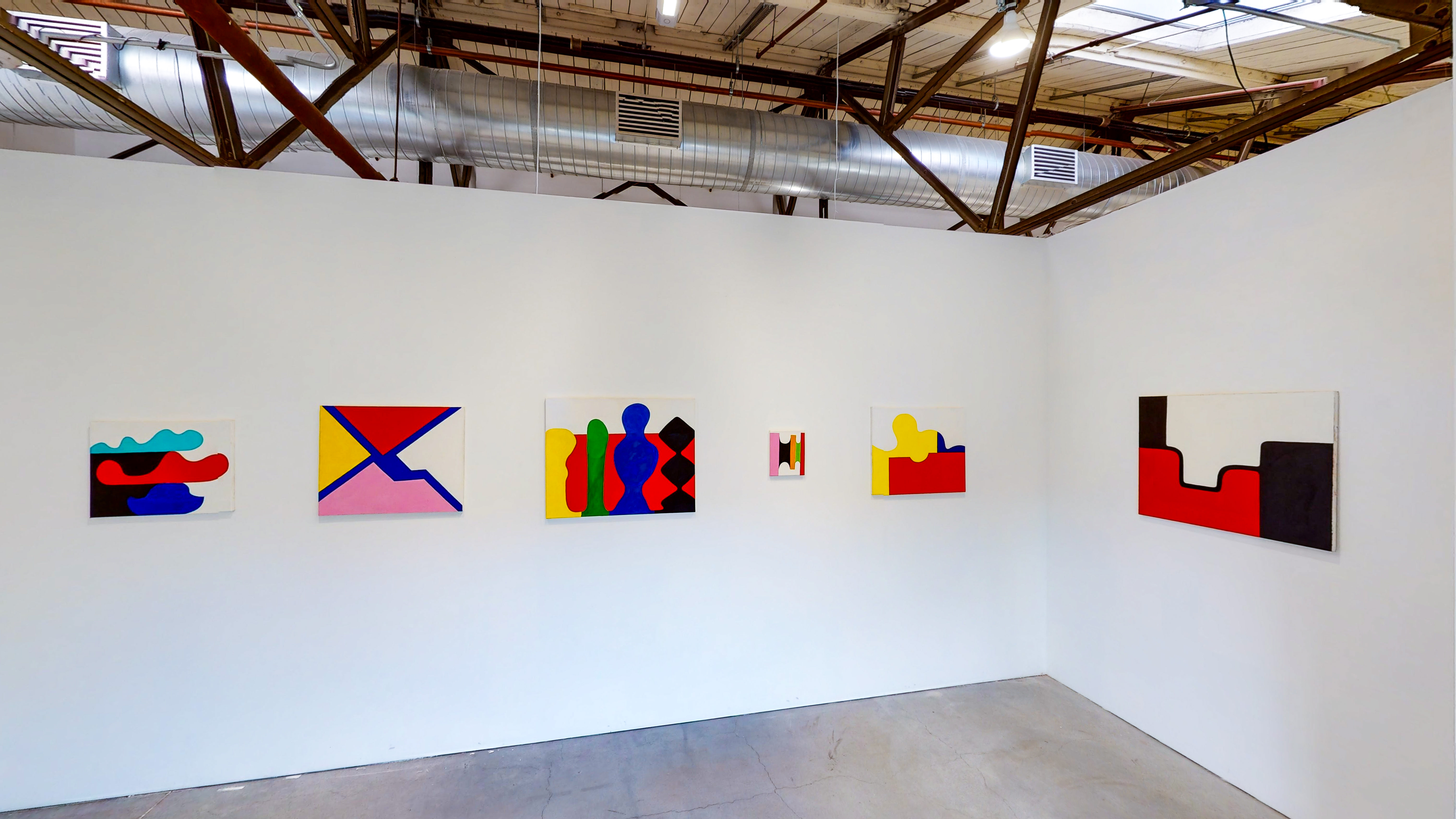 Interior of the Anglim/Trimble upstairs gallery showing various works by Andrew Masullo on display.