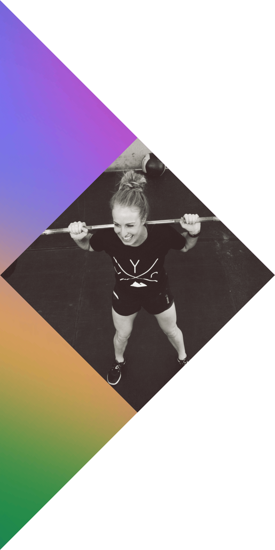 woman weight lifting at a gym, colour gradient background