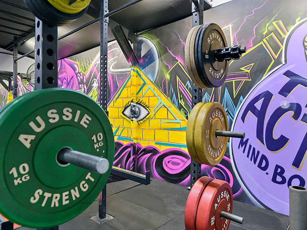 Weights and artwork at TriActive gym in Euroa