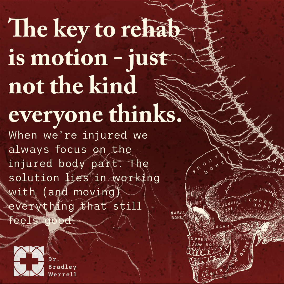 The key to rehab is motion - just not the kind everyone thinks. When we're injured we always focus on the injured body part. The solution lies in working with (and moving) everything that still feels good. - Tom Dalonzo-Baker on the BEST MEDICINE Podcast with Dr Bradley Werrell